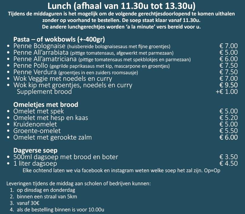 lunch aangepastte kaart